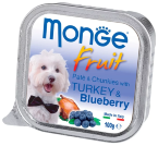 Консервы для собак Monge Dog Fruit – Нежный паштет для собак из индейки с черникой