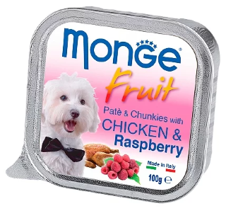 Консервы для собак Monge Dog Fruit – Нежный паштет для собак из курицы с малиной